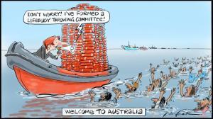 Then Australian Prime Minister Julia Gillard not welcoming migrants and asylum seekers cartoon, June 30, 2012. (Bill Leak, http://www.theaustralian.com.au/).