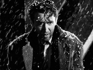 The bridge scene in It's A Wonderful Life, where James Stewart's character's was contemplating suicide, 1946. (http://salon.com).