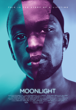 Moonlight (2016) poster, October 2016. (Film Fan via Wikipedia; orig. A24). Qualifies as fair use under US copyright law as illustration of subject/review of film.